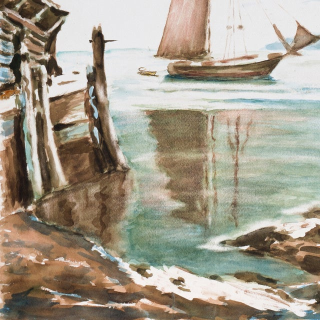 Harold Guthman Vintage 1973 Safe Harbor Painting For Sale - Image 5 of 7