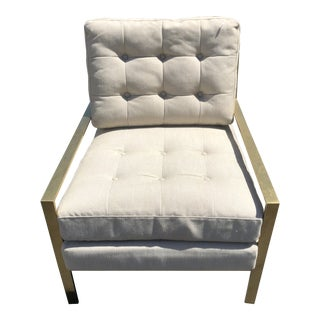Classic Home Modern Beige Tufted Armchair For Sale