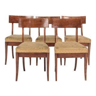 19th Century Traditional Klismos Birch Dining Chairs - Set of 5 For Sale