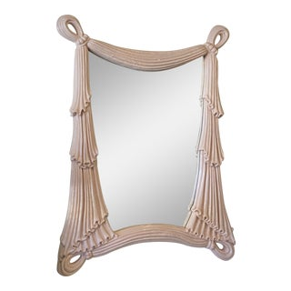 Vintage Coral Lacquered Palm Beach Draped Swag Large Wall Mirror For Sale