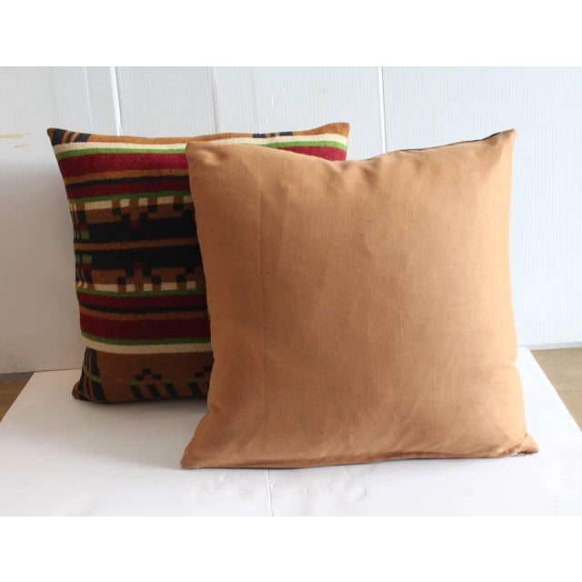 Primitive Pair of 19th Century Horse Blanket Pillows For Sale - Image 3 of 4