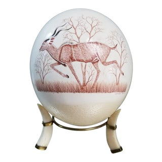 African Rodger Ndlovu Blown Ostrich Egg With Etched Gazelle and Stand For Sale