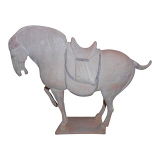 Late 20th Century Tang Dynasty Style Terra Cotta Horse Sculpture For Sale