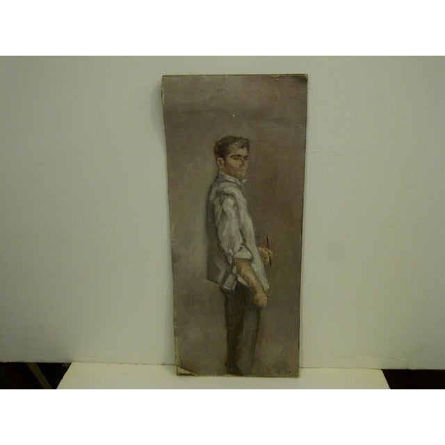 """Vintage original painting from Frederick McDuff. Signed and titled """"Standing Portrait"""". Circa 1960. Frederick McDuff was..."""