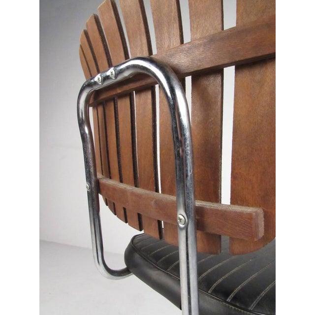 Mid-Century Modern Slat Back Swivel Bar Stools - A Pair For Sale - Image 9 of 11