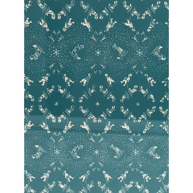 Children's Folly Cove Designers Snow Flurry Hand Block Print For Sale - Image 3 of 10