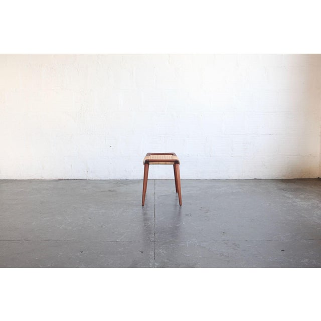 Johannes Hansen Hans Wegner Teak & Cane Stool For Sale - Image 4 of 5