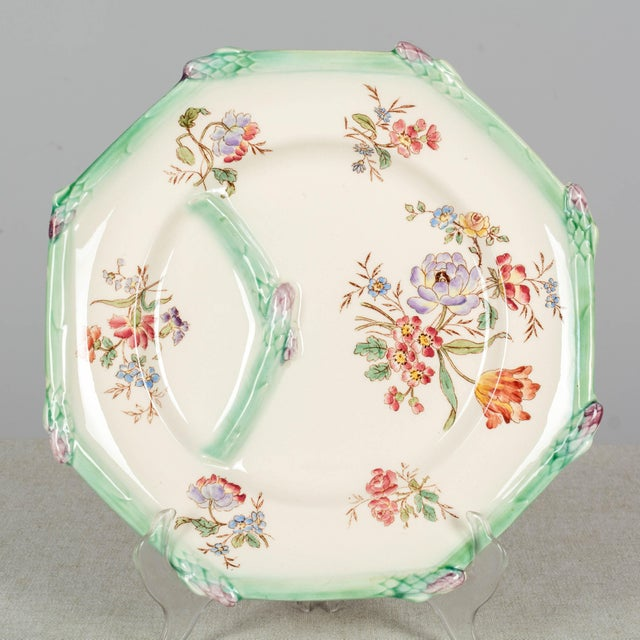 Longchamp French Majolica Asparagus Plates and Serving Set For Sale - Image 10 of 13