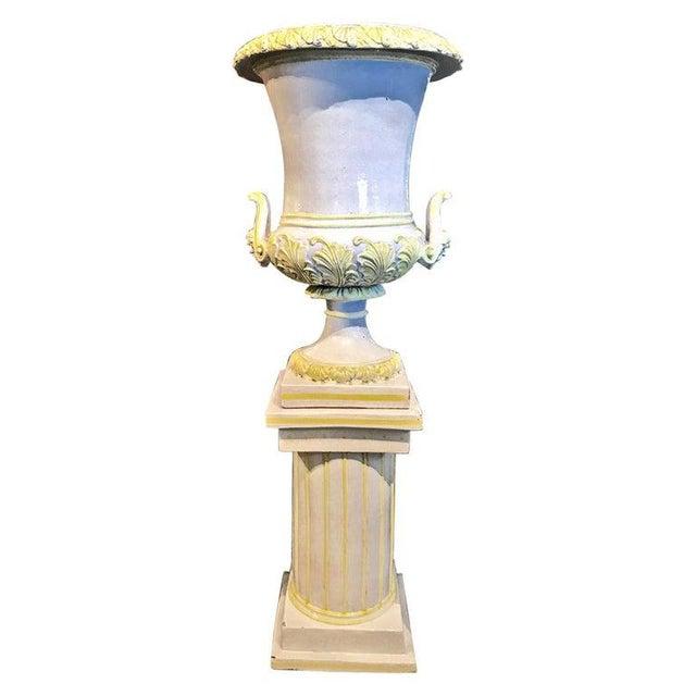 Italian Glazed Terra Cotta Urn on Pedestal For Sale - Image 10 of 10