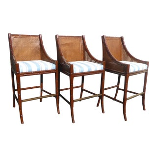 Vintage Palecek Faux Bamboo Rattan Style Cane Back Bar Stools - Set of 3 For Sale
