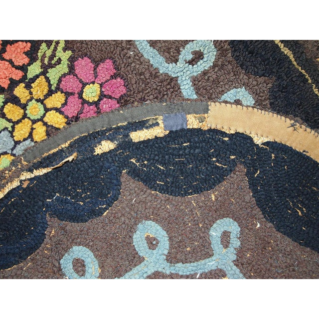 Brown 1920s Antique American Oval Hooked Rug- 2′2″ × 3′9″ For Sale - Image 8 of 10