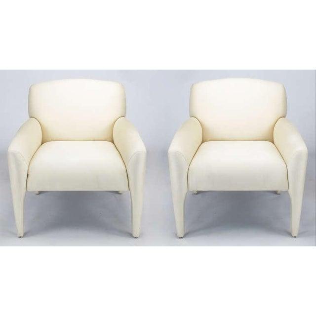 Pair Vladimir Kagan Lounge Chairs In Ivory Silk - Image 2 of 9