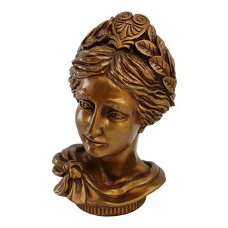 Vintage Bronze Lady Goddess Head Bust Sculpture, Universal Statuary Corp 1963 For Sale