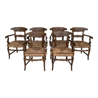 19th Century Set of Six Armchairs With Straw Seat. Dining Room Chairs For Sale