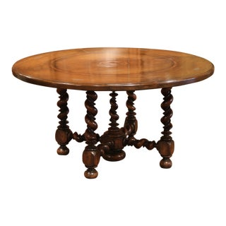 18th Century French Louis XIII Round Walnut Barley Twist Table from the Perigord