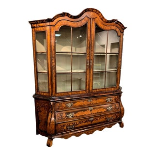 19th Century Dutch Marquetry Inlaid and Lighted Vitrine Cabinet For Sale