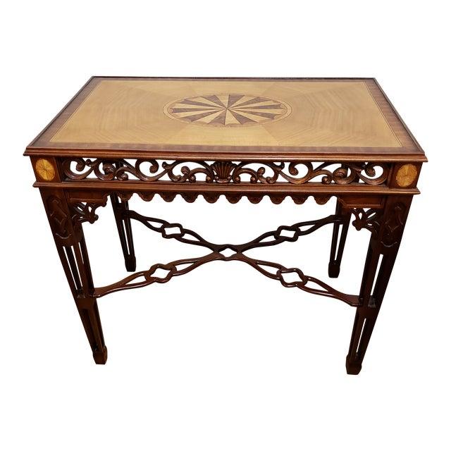 Maitland-Smith Inlay Mahogany Tea Table For Sale