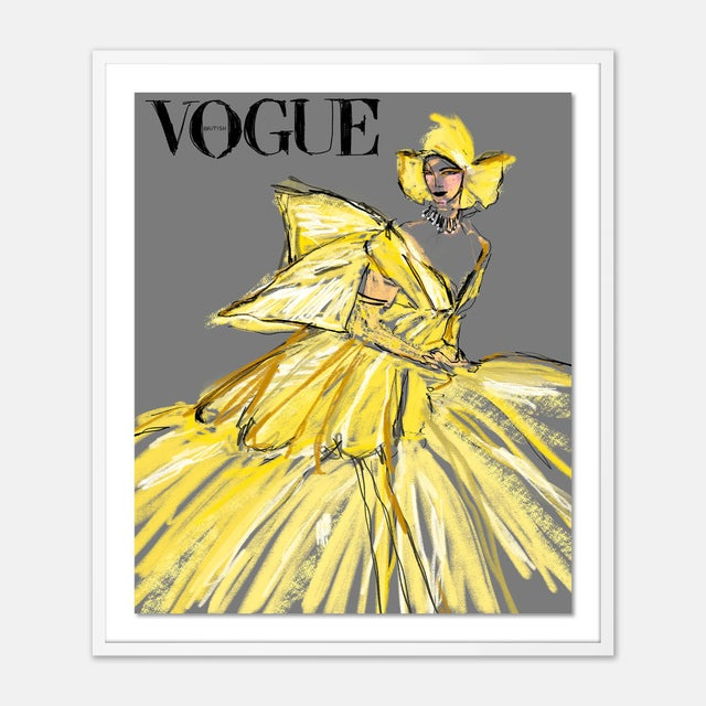 Contemporary British Vogue August 2020 by Annie Naranian in White Frame, Medium Art Print For Sale - Image 3 of 3
