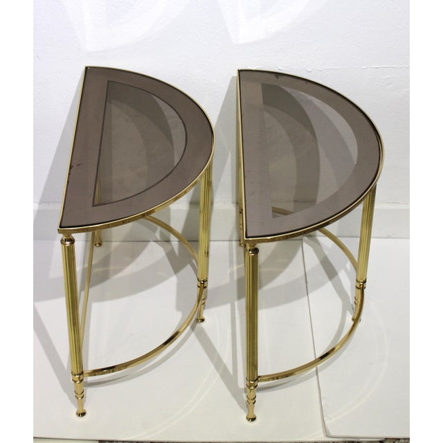 Mid-Century Modern Demi-Lune Drinks or Side Tables Brass and Smoked Glass - a Pair For Sale - Image 9 of 13