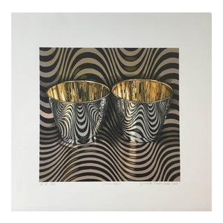 """Jeanette Pasin Sloan """"Wave Cups"""" Still Life Black and White Lithograph For Sale"""