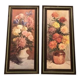 1970s Floral Still Life Prints, Framed - a Pair For Sale