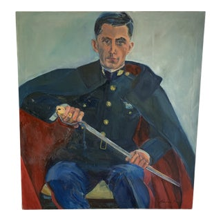 Vintage Oversized Signed Figural Painting of a Soldier With Sword For Sale