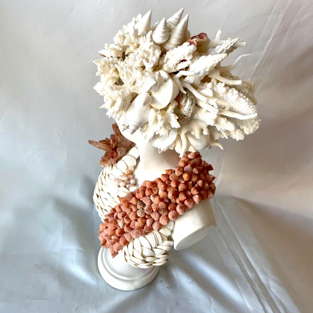 """Christa's South Seashells """"Diana"""" Contemporary Bust Encrusted With Shells For Sale - Image 4 of 8"""