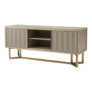 Modern Oak and Brass Cabinet For Sale
