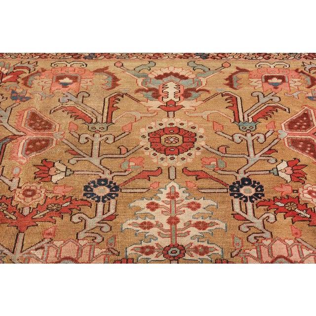Beautiful Golden Background Antique Heriz Persian Rug, Country of Origin / Rug Type: Persian Rug, Circa Date: 1880 The...