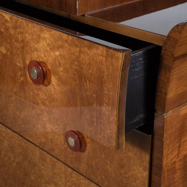 Art Deco Skyscraper Style Chest in Bookmatched Burled Elm, Mahogany and Walnut - Image 3 of 11
