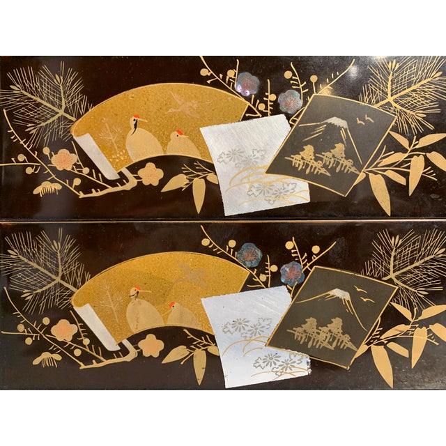 Japanese Lacquer Two Tiered Box, Jubako, Meiji Period For Sale In Austin - Image 6 of 9