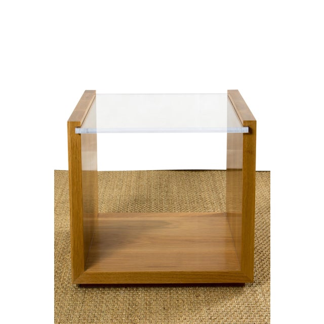Contemporary Contemporary Oak and Lucite Side Table For Sale - Image 3 of 3