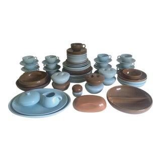 Russel Wright Mid-Century Modern Iroquois Ice Blue & Nutmeg Brown Dinnerware - 82pc Set For Sale