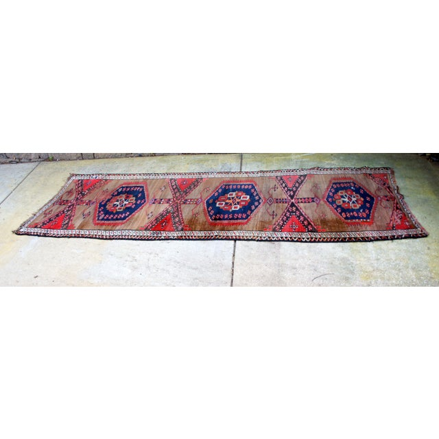 "Vintage Turkish Handknotted Anatolian Tribal Runner-3'4x11'2"" For Sale - Image 10 of 13"