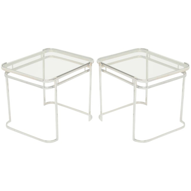 Pair of Italian Mid-Century Modern Chrome Side Tables For Sale