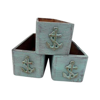Antique Victorian Wood Bins Nautical/Beach/Cottage Storage Boxes S/3 For Sale