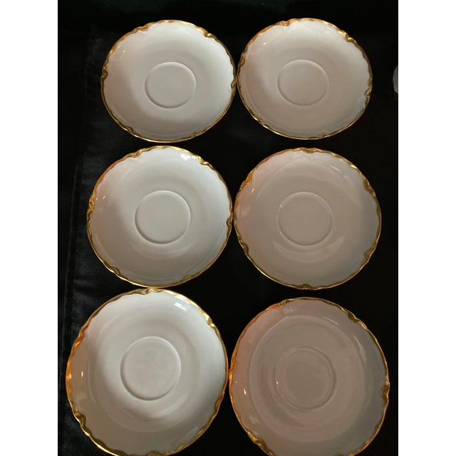 Hutschenreuter White Porcelain and Gold Cup and Saucers - Set of 6 For Sale - Image 10 of 13