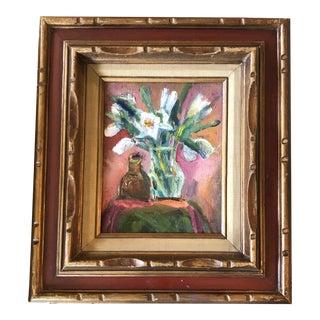 Original Vintage Impressionist Still Life Painting Vintage Carved Wood Frame For Sale