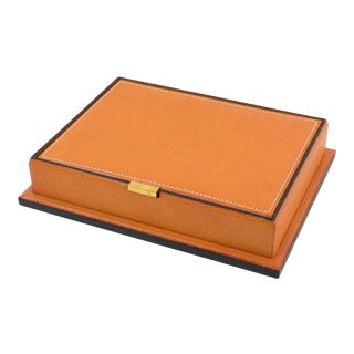 Longchamp Hand-Stitched Leather Box For Sale