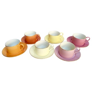Sherbet-Hued Teacups & Saucers - Set of 6
