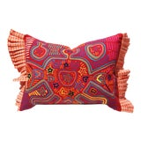 Image of Folk Art Mola Pillow Cover - Panama - 15x20 For Sale