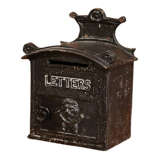 19th Century English Painted Iron Wall Mailbox With Front Door and Letter Slot