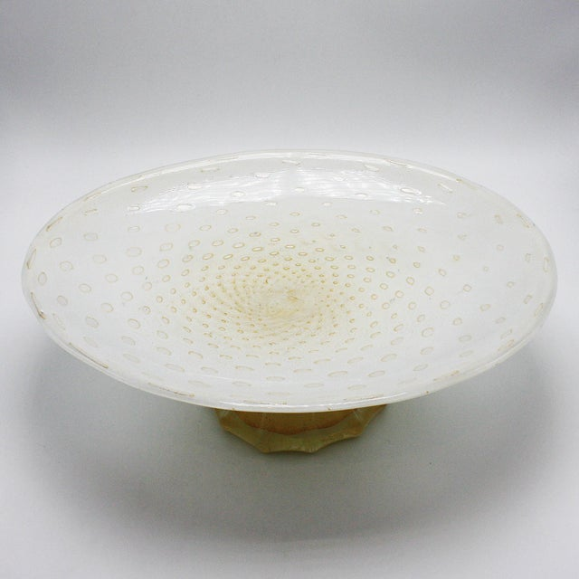 White Murano glass bowl on gold base, c. 1960