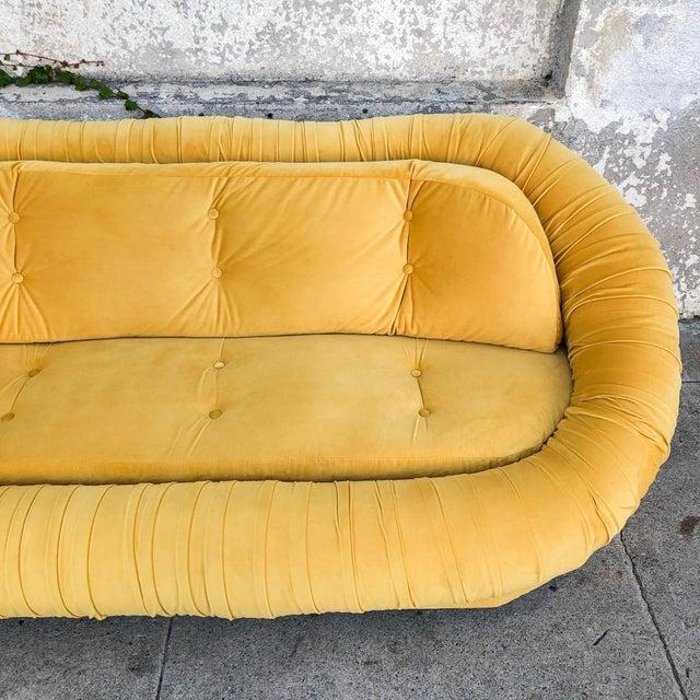 Textile Vintage Lemon Yellow Velvet Reupholstered Loveseat For Sale - Image 7 of 8