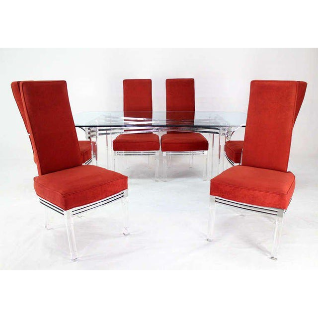 1960s Mid-Century Modern Set of Six Dining Chairs and Table in Lucite, Chrome, Glass For Sale - Image 5 of 9