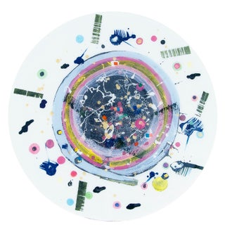 Contemporary Pastel Circular Painting by Natasha Mistry For Sale