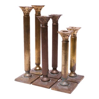 Vintage Patinated Brass Candlesticks - Set of 6 For Sale