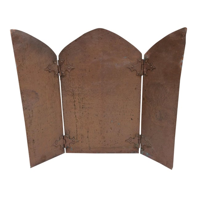 Antique Hammered Copper Folding Screen For Sale