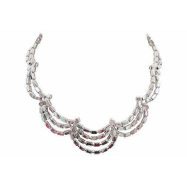 Gemstone 1950s Kramer of Ny Rhinestone Festoon Necklace For Sale - Image 7 of 12