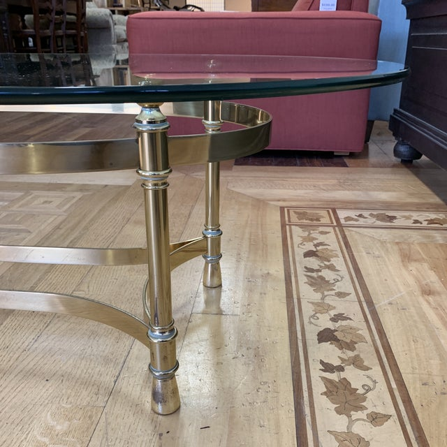 Maison Jenson Style Polished Brass + Glass Coffee Table For Sale - Image 4 of 9